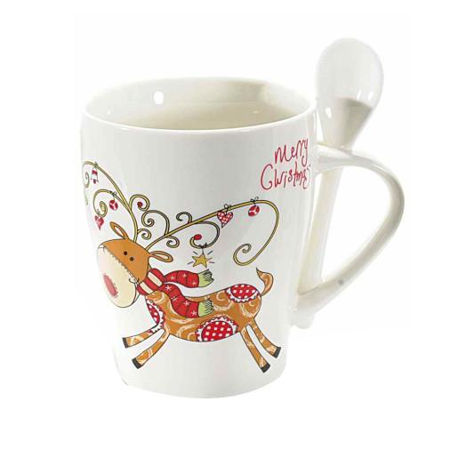 Cana ceramica cu lingurita model Ren Ø 9 cm x 13 H 300 ml