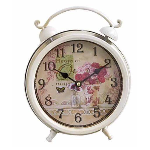 Ceas de masa clasic alb Flowers Shabby Chic 21x27H
