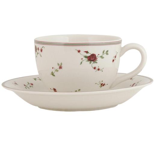 Ceasca cu farfurioara ceramica Roses 15x7 cm 0.2 L
