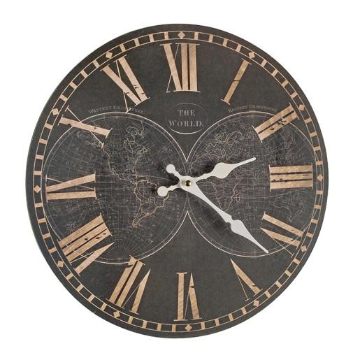 Ceas de perete lemn rotund negru 34 cm