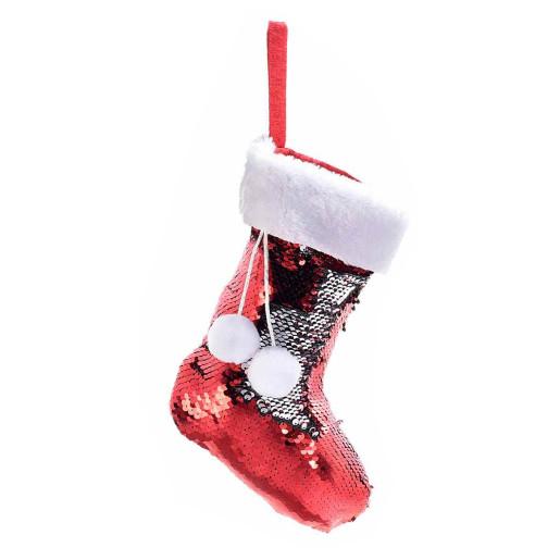 Ciorap decorativ Craciun rosu cu paiete rosii reversibile cm 18 x 27 H