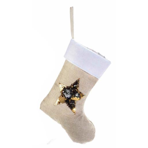 Ciorap decorativ Craciun bej model steluta paiete aurii reversibile cm 25 x 34 H