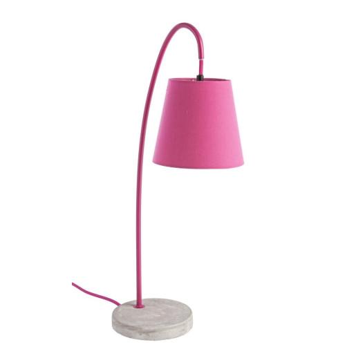 Veioza metal cu abajur textil roz Parabola 30 cm x 15 cm x 54 h