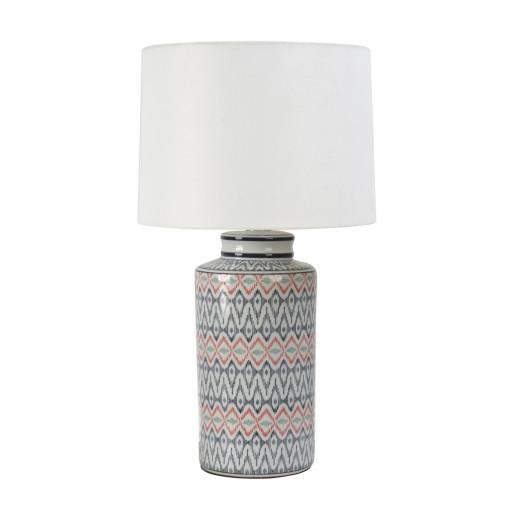 Veioza portelan cu abajur texil alb gri rosu Congo Ø 24 cm x 49 h