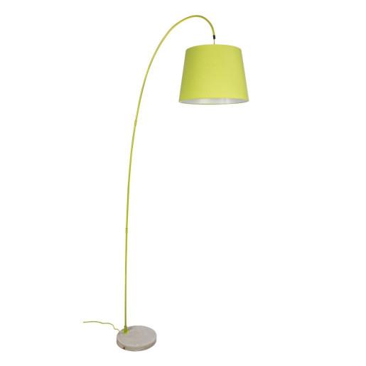 Lampadar fier cu abajur textil verde Parabola 80 cm x 38 cm x 200 h