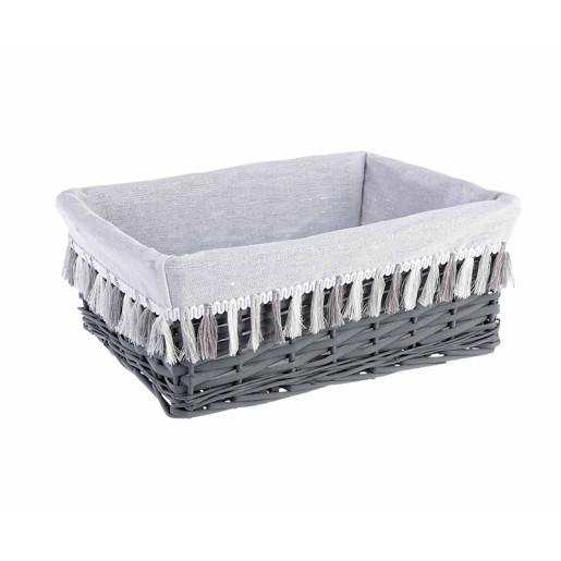 Cos decorativ polyester gri alb cu husa 40 cm x 30 cm x 16 h