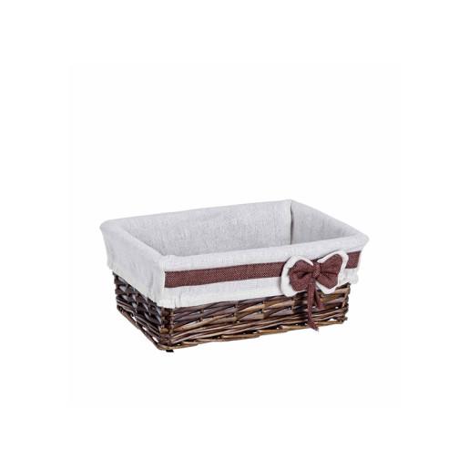 Cos decorativ rattan maro alb cu husa Ribbon 28 cm x 18 cm x 11 h