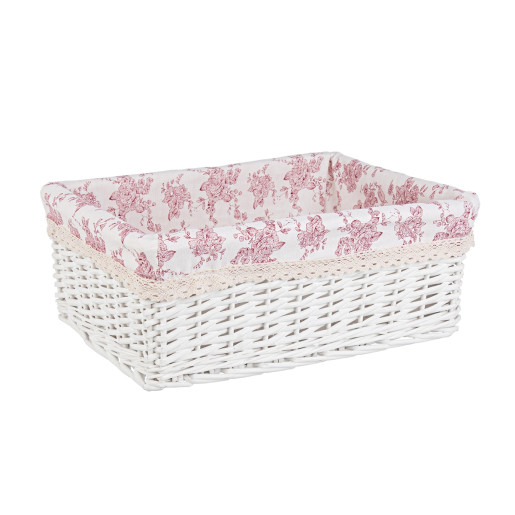 Cos decorativ rattan alb cu husa roz Cecilia 43 cm x 32 cm x 16 h