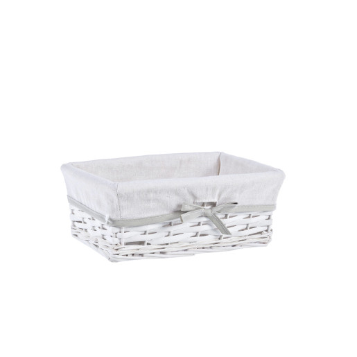 Cos decorativ rattan alb cu husa Home 28 cm x 11 cm x 11 h