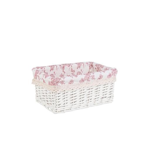 Cos decorativ rattan alb cu husa roz Cecilia 31 cm x 21 cm x 12 h