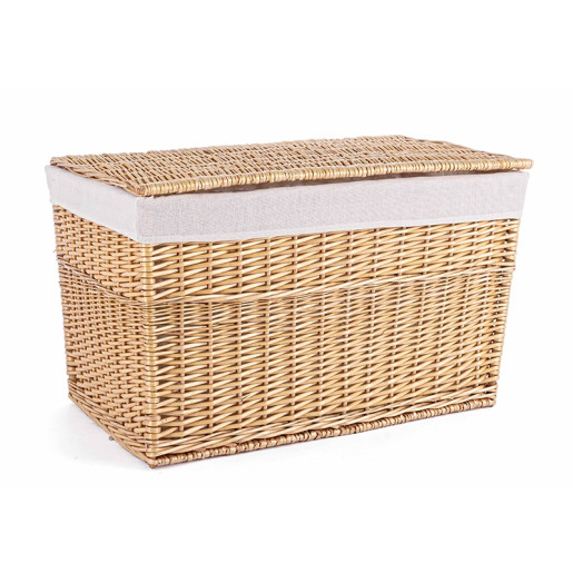 Cos depozitare din lemn de salcie cu husa textil natur alb Arlette 75 cm x 44 cm x 44 h