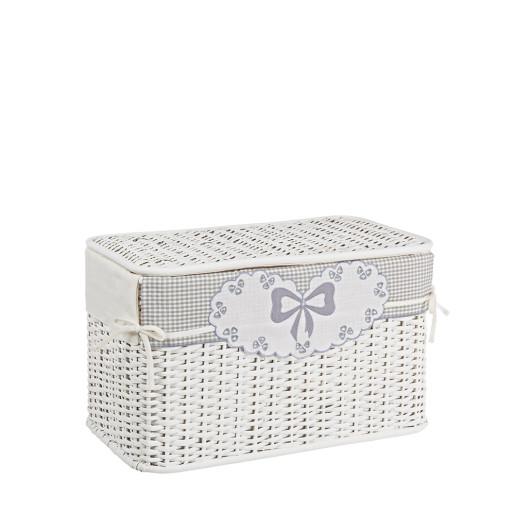 Cos depozitare alb din rattan textil alb gri Kis 55 cm x 30 cm x 33H