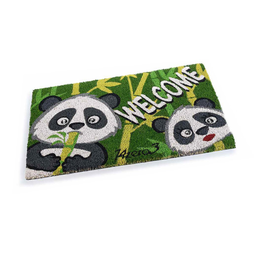 Covoras intrare casa antiderapant fibre cocos cauciuc Panda 60 cm x 40 cm