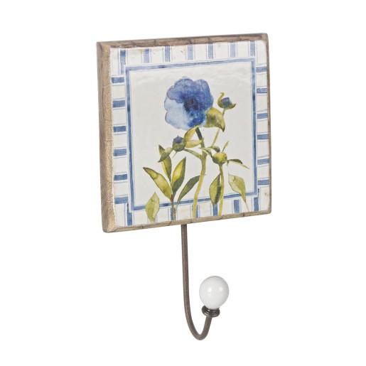 Cuier de perete lemn model Floare albastra 14 cm x 14 cm