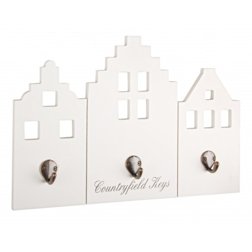Cuier pentru chei de perete lemn alb 39 cm x 5 cm x 27h