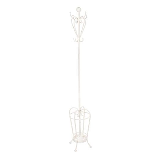 Cuier si suport umbrele fier forjat alb de pardoseala Emily 28 cm x 28cm x 184h