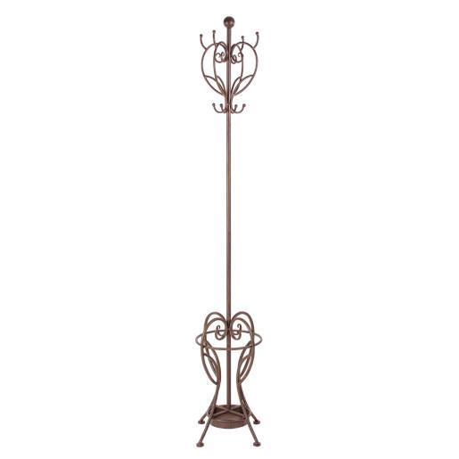 Cuier si suport umbrele fier forjat maro de pardoseala Melanie 32 cm x 32 cm x 184 h