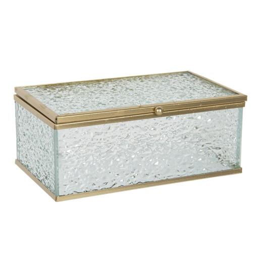 Caseta bijuterii din sticla si metal auriu 17 cm x 10 cm x 7 h