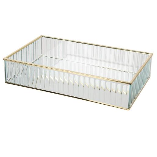 Caseta bijuterii din sticla transparenta si metal auriu 29 cm x 17 cm x 6 h