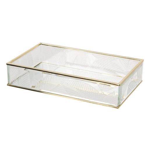 Caseta bijuterii din sticla transparenta si metal auriu Leaf 24 cm x 14 cm x 5 h