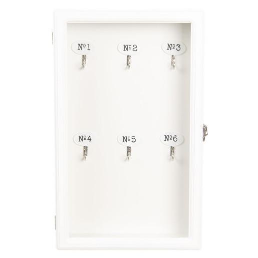 Cutie suspendabila pentru chei lemn alb sticla 24 cm x 7 cm x 38 cm