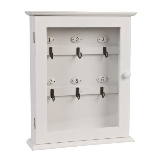 Cutie suspendabila pentru chei lemn alb 6 agatatori 25 cm x 7 cm x 31 h