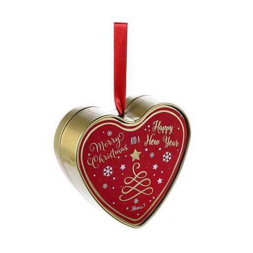 Cutie suspendabila din metal rosu auriu model Inimioara 10x4x11 cm