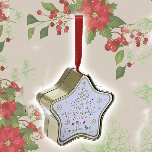 Cutie suspendabila din metal alb rosu auriu model Steluta 10x4x11 cm