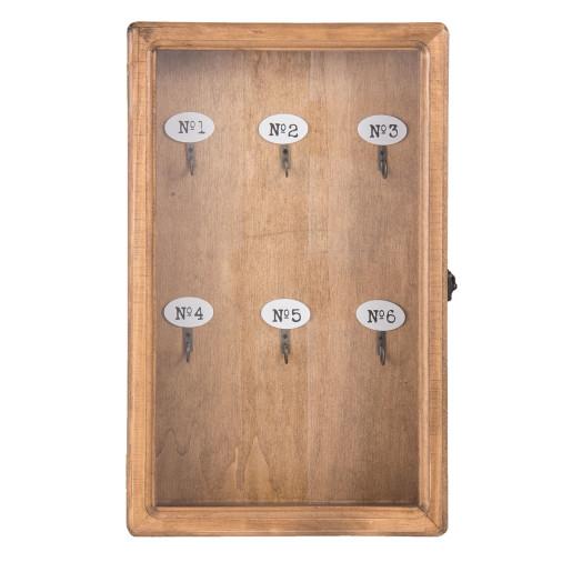 Cutie suspendabila pentru chei lemn natur sticla 24 cm x 7 cm x 38 cm