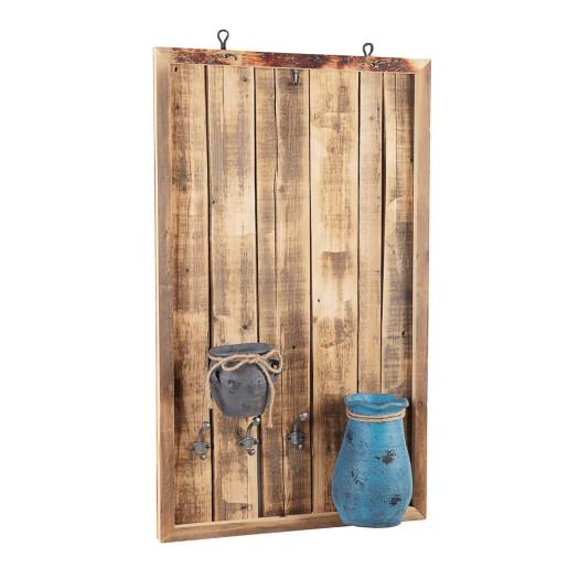 Decoratiune suspendabila perete lemn natur cu 2 vaze si 3 agatatori 60 cm x 14 cm x 100 h