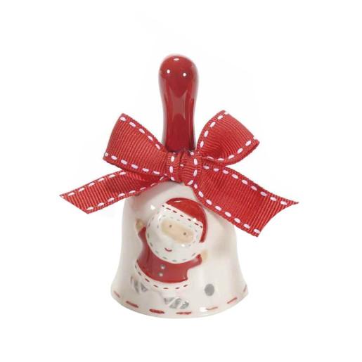 Clopotel din ceramica alba rosie gri model Mos Craciun Ø 5x9 cm