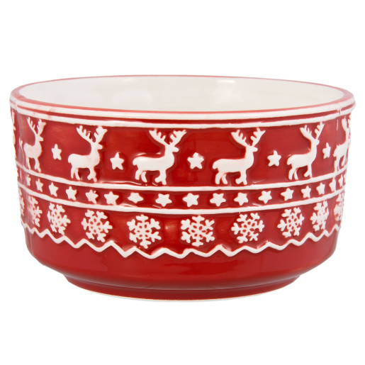 Bol ceramica rosu alb model Ren Ø 13x7 cm 0.4L