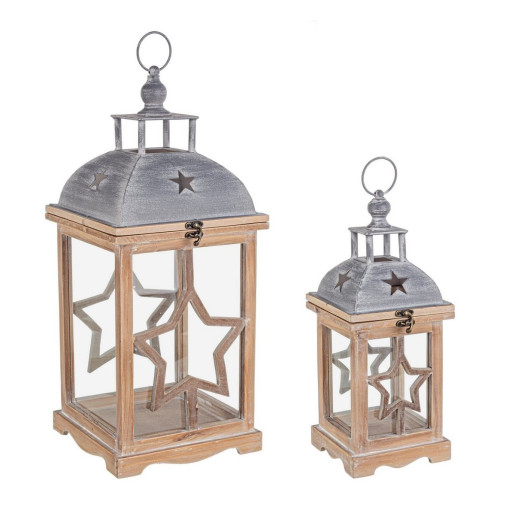 Set 2 felinare din lemn sticla si metal maro gri Isa 24x24x57 cm; 16x16x41 cm