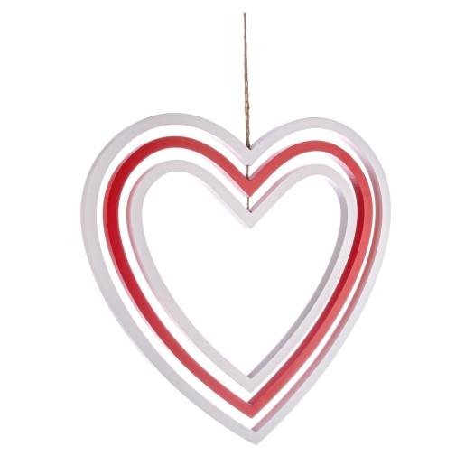 Decoratiune suspendabila din lemn alb rosu model Inima 52x52x2 cm