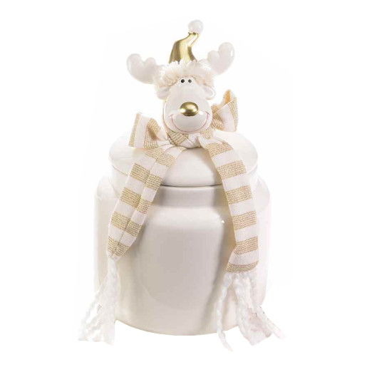 Borcan Craciun ceramic decorativ cu capac model Ren cm11x11x23H