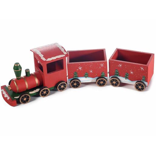 Trenulet lemn rosu cm 35 x 7 x 10 H