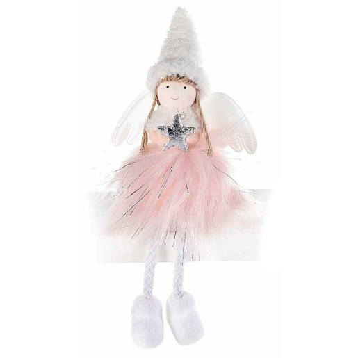 Figurina Inger textil alb roz 10x6x12/20 cm