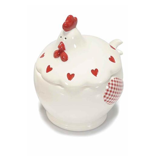 Bol cu capac model Gaina ceramica alb rosu cm 13 cm x 12 cm x 15 H