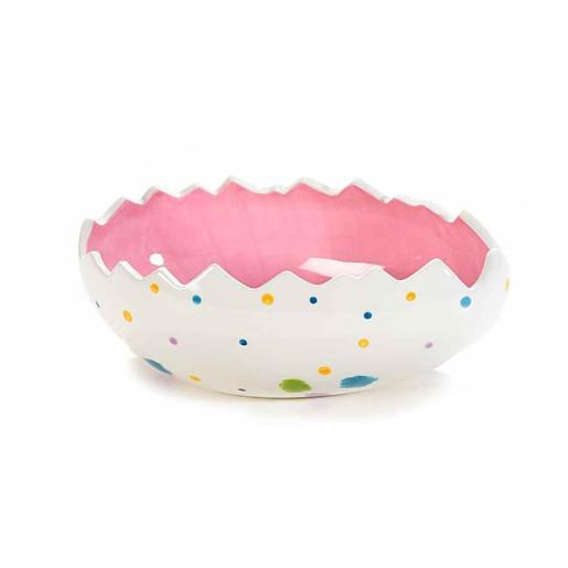 Bol Paste model Ou ceramica alb roz 18 cm x 11 cm x 7 h
