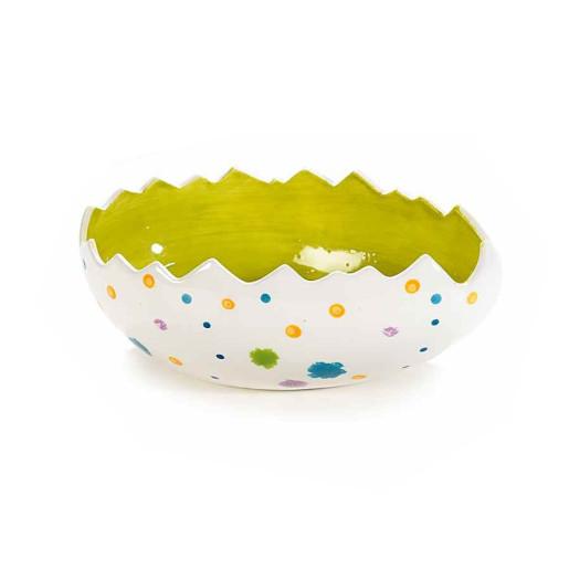 Bol Paste model Ou ceramica alb verde 18 cm x 11 cm x 7 h