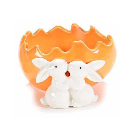 Ou Paste ceramica model Iepurasi portocaliu cm 11 x 11cm x 6 H