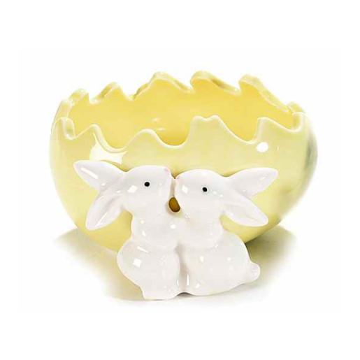 Ou Paste ceramica model Iepurasi galben 11 cm x 11 cm x 6 h