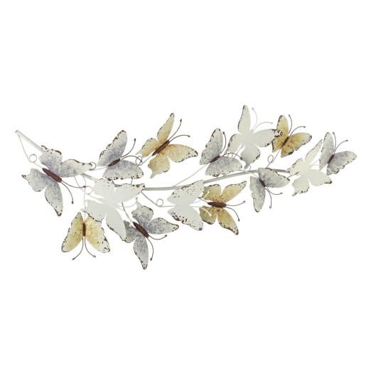 Decoratiune din metal alb vintage pentru perete Mariposa 30 cm x 6 cm x 81h