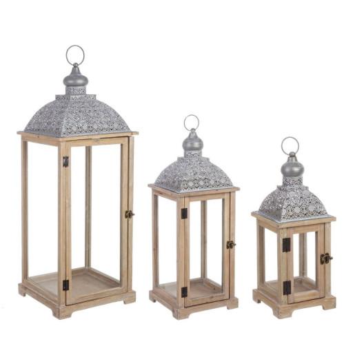 Set 3 felinare lemn natur metal gri Oberlech 30 cm x 30 cm x 81 h