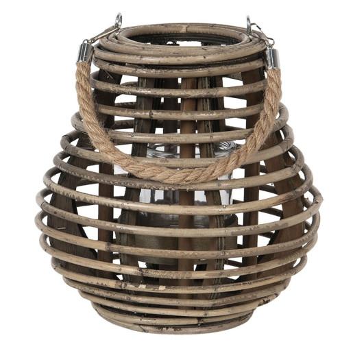 Felinar suspendabil bambus bej cu pahar sticla Ø 23 cm x 23 h