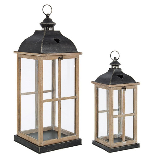 Set 2 felinare din metal negru lemn natur si sticla Cross 22.5 cm x 22.5 cm x 67.5 h