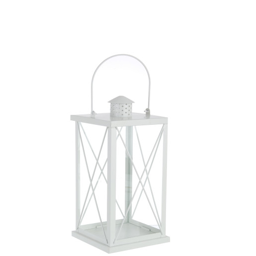 Felinar metal sticla alb Alexa 14 cm x 14 cm x 30 h