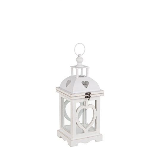 Felinar alb metal lemn sticla Isa 16 cm x 16 cm x 41 h