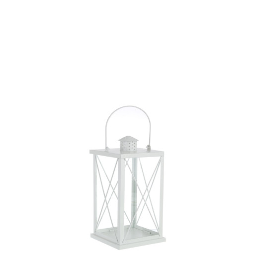 Felinar metal sticla alb Alexa 10 cm x 10 cm x 20 h