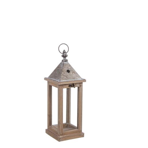 Felinar metal lemn sticla Chalet 14 cm x 14 cm x 40 h